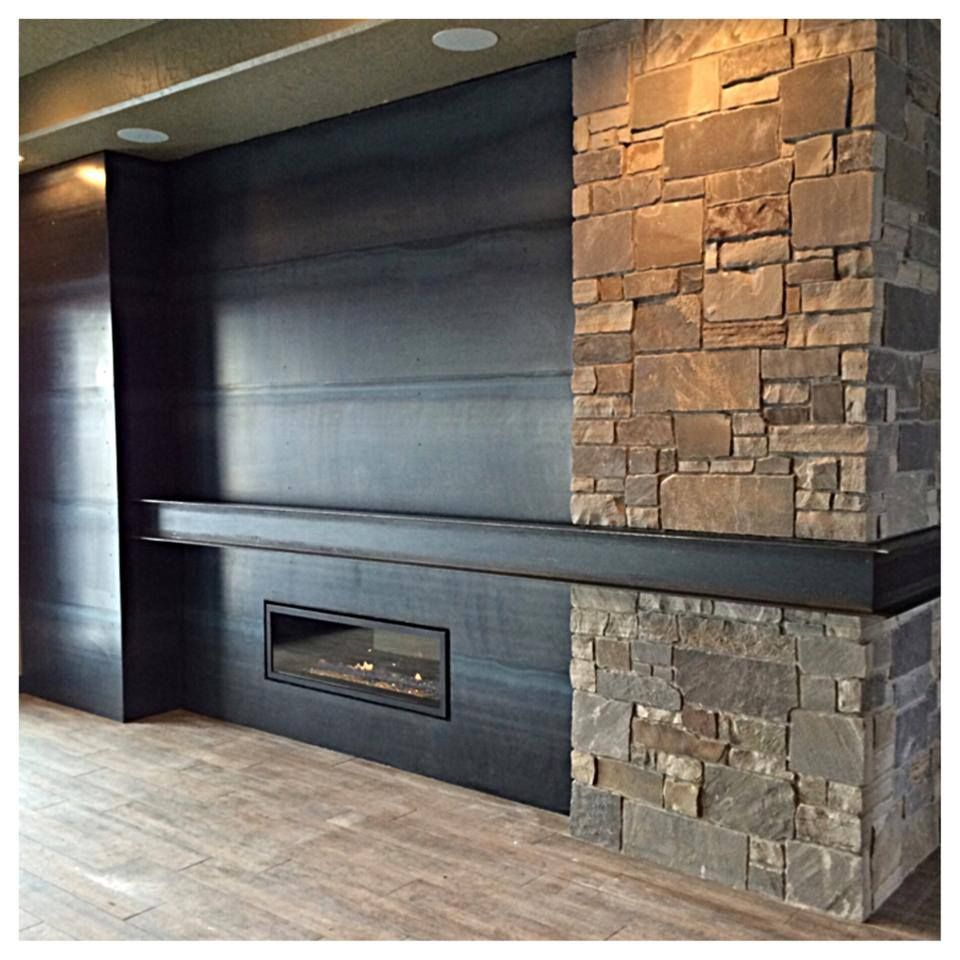 Hot Roll Steel Stone Fireplace And Integrated I Beam Mantel It S Got A Great Clean Modern Feel But The Natural Tones In Raw Finish Are