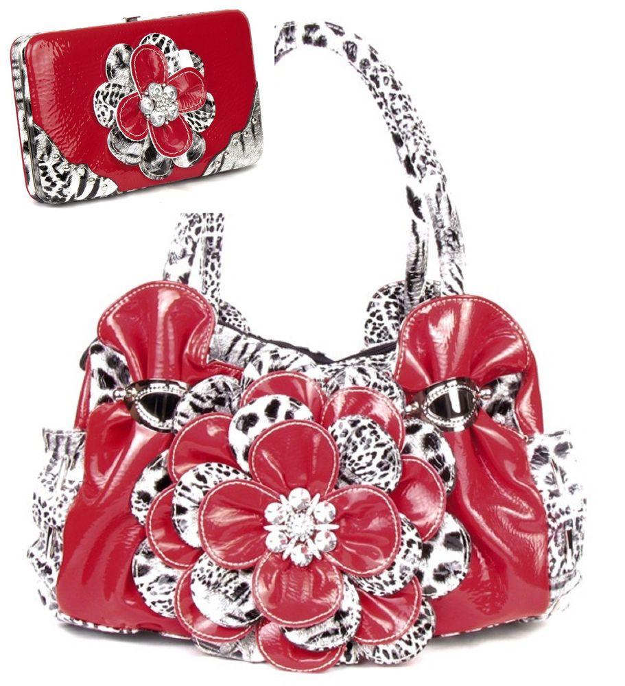 Leopard Red Flower Rhinestone Fashion Handbag W Matching Wallet