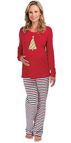 8291de44fa The perfect pajamas for the mom-to-be at Christmastime! Fun and festive soft  and stretchy these happy holiday PJs were designed with her needs in m…