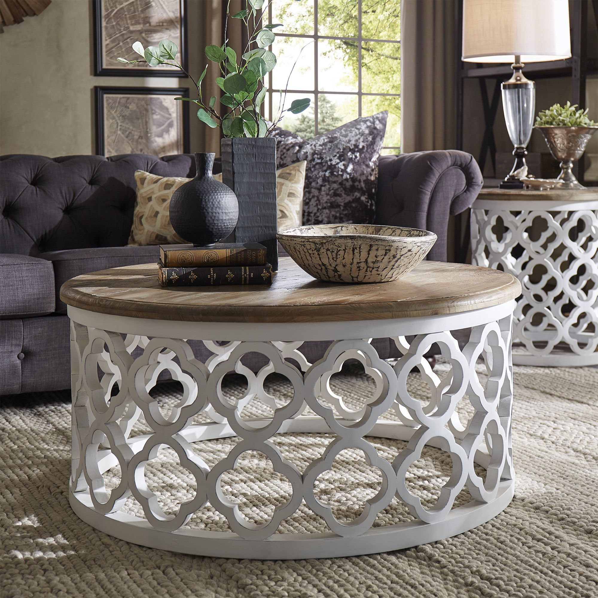 Vince Reclaimed Wood Moroccan Trellis Drum Coffee Table By