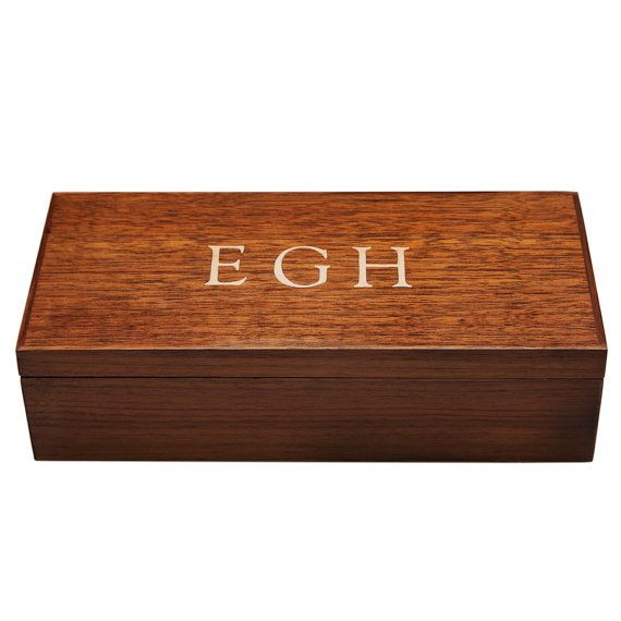 Monogram Wood Jewelry Box Mens Valet Walnut by ClassicWoodArts