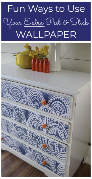 How To Use Your Leftover Wallpaper Wallpaper Shelves Stick On Wallpaper Wallpaper Furniture