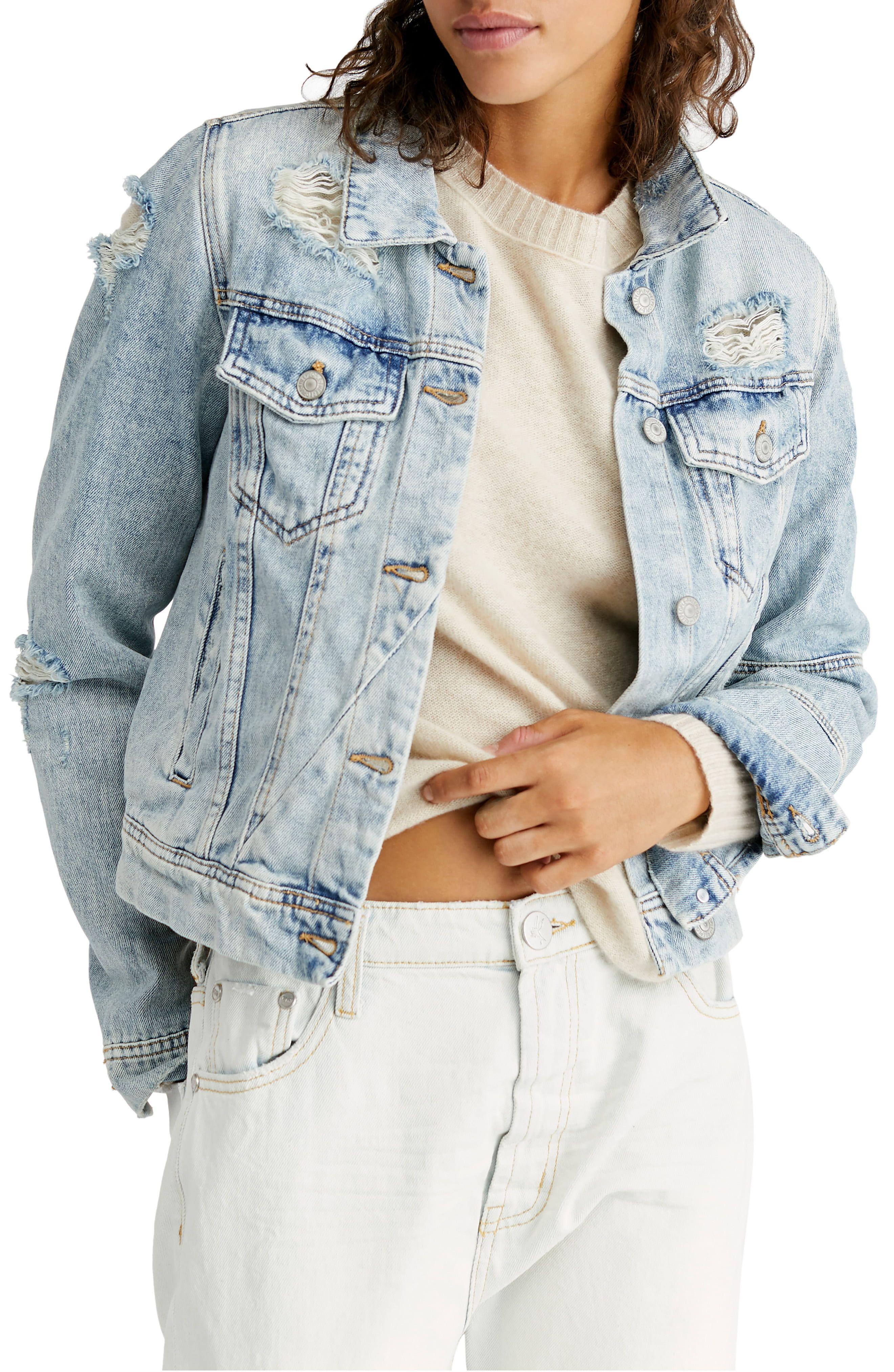 Free People Rumors Ripped Denim Jacket Nordstrom In 2021 Denim Jacket Women Light Denim Jacket Denim Jacket [ 4048 x 2640 Pixel ]