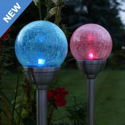 10 STAINLESS STEEL SOLAR POWERED COLOUR CHANGING LED GARDEN PATH BOLLARD LIGHTS