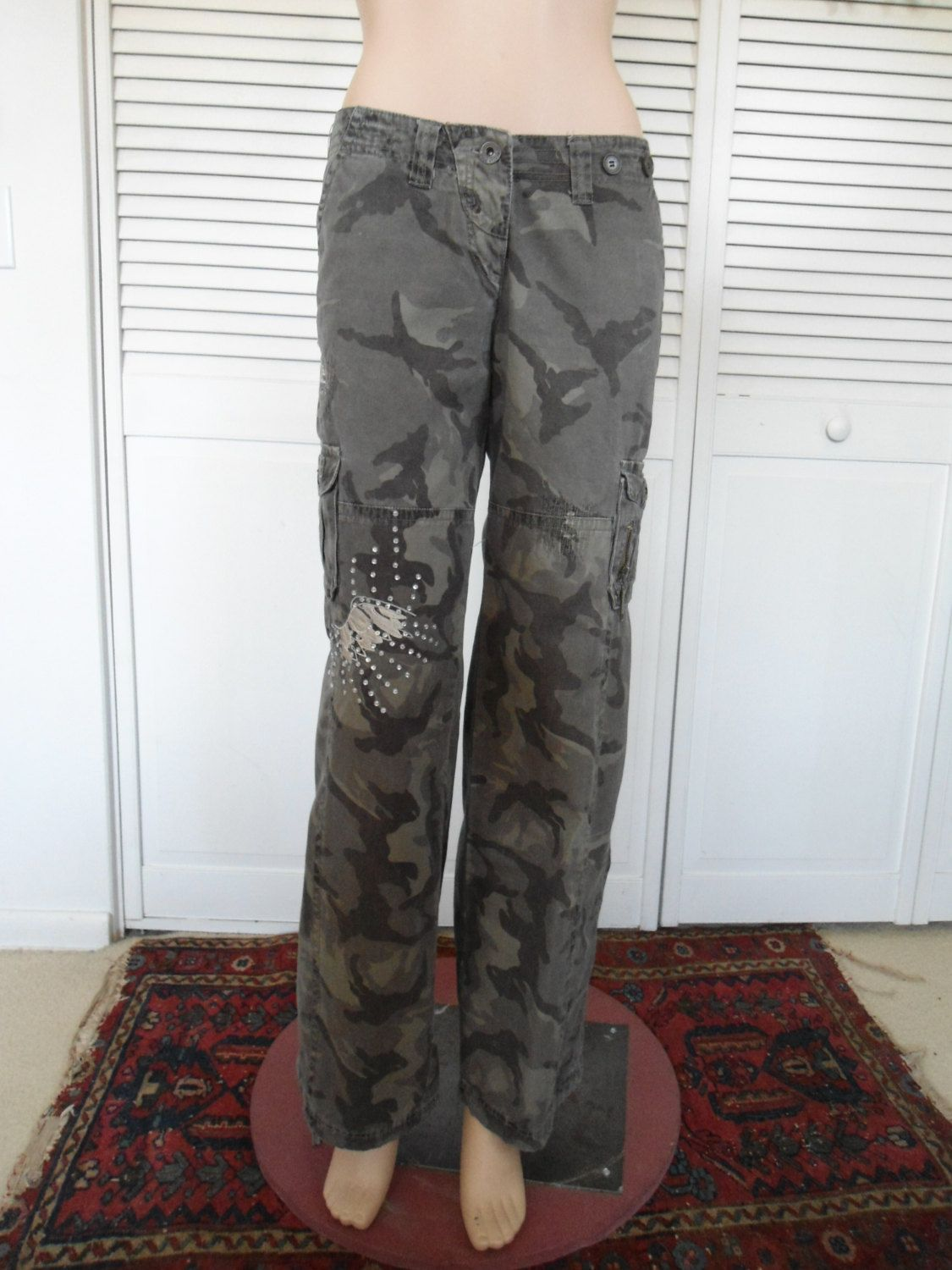 Camouflage Pants Army Green Cargo Embellished Hip Hugger Steampunk Hippie Black Grey Cargo 90s Festival Hiking The Land Of Bridget Upcycled Boho Hippie Bohe