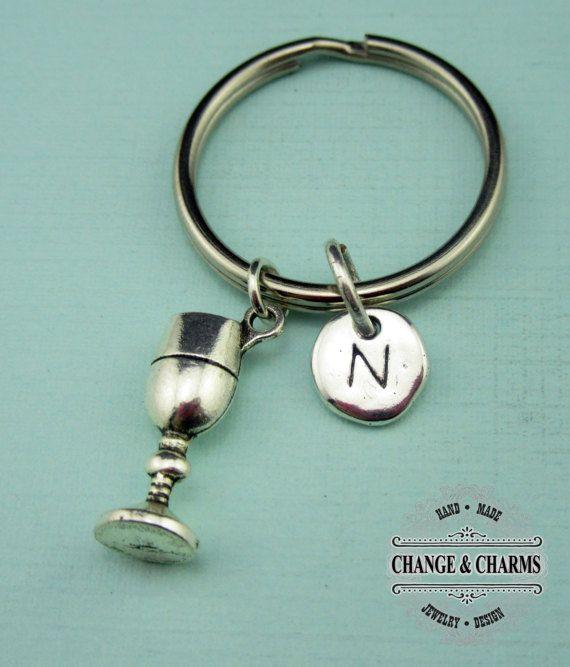 Wine Glass Keychain, Wine Glass, Goblet Keychain, Goblet, Alcohol, Custom Keychain, Personalized Keychain, Initial Charm, Monogram, CFD003