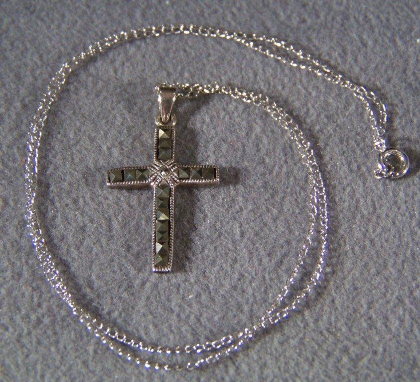 Vintage Sterling Silver  Multi Round Square Marcasite cross pendant Charm necklace chain     W by NicosNostalgia on Etsy https://www.etsy.com/listing/155879926/vintage-sterling-silver-multi-round