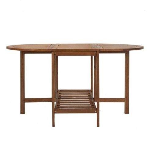 Acacia Wood Oval Folding Table Brown Cosco Outdoor