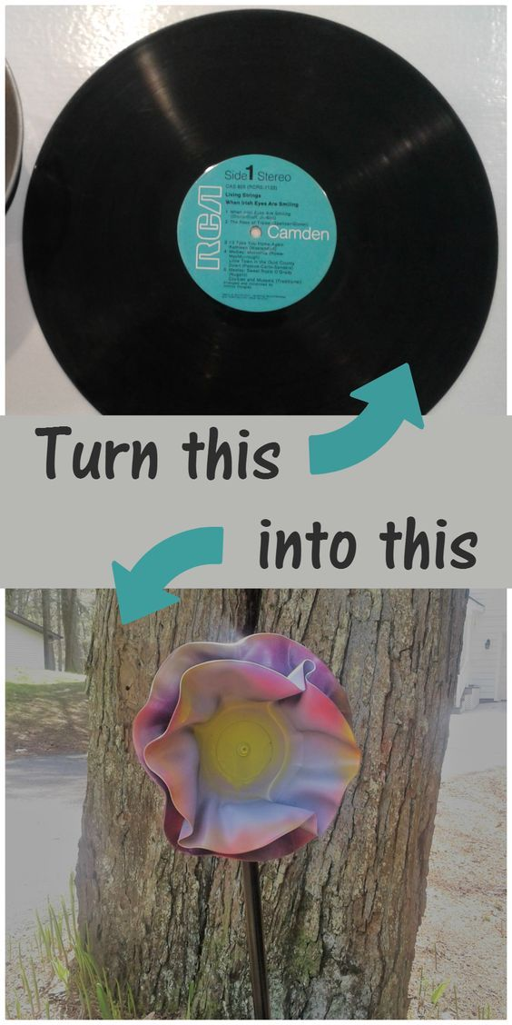 Upcycle Your Old Record Albums Into Beautiful Yard Art Flowers