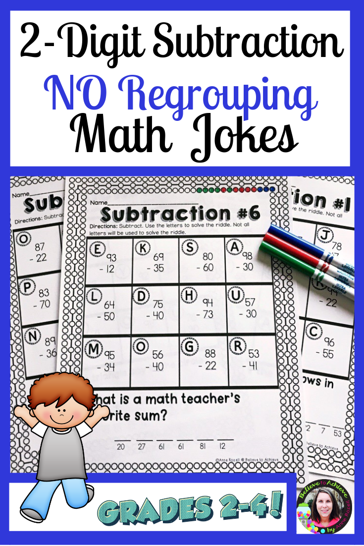 2 Digit Subtraction No Regrouping Worksheets With Math Jokes Math Jokes Math Subtraction [ 1102 x 735 Pixel ]