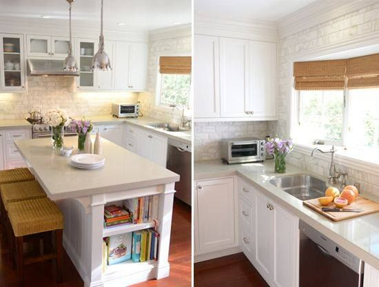 """Nice contemporary kitchen that would also be suitable for a pre-50s home. """"This Newport Beach inspired kitchen design by  Brittany Stiles Interior Design uses Caesarstone quartz and is complimented with a unique marble backsplash."""""""