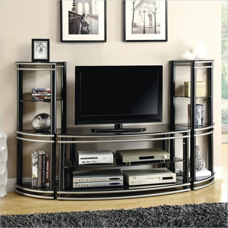 astonishing poundex tv stand. Coaster Demilune Entertainment Center in Black and Silver  Tv stands