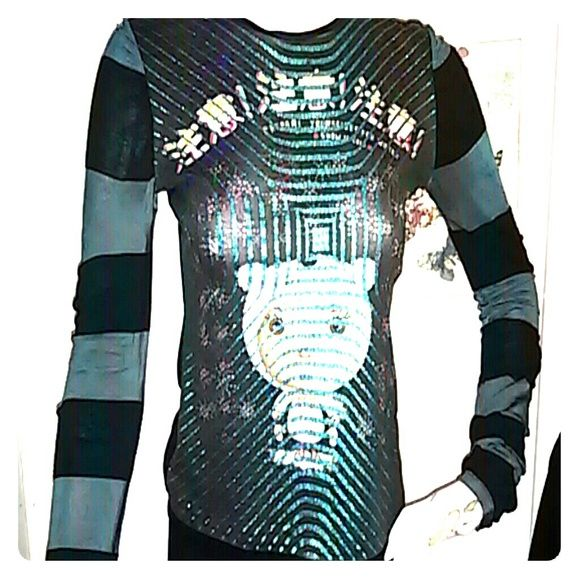 Custo Barcelona Top Colorful w glittery embellishment Custo Barcelona Snow Is Cold top.  21inches from top and 16 inches width (32)  Material is cotton poly com w a bit of lycra for the stretch.  Color is  black and aquamarine glittery stripes. Custo Barcelona Tops