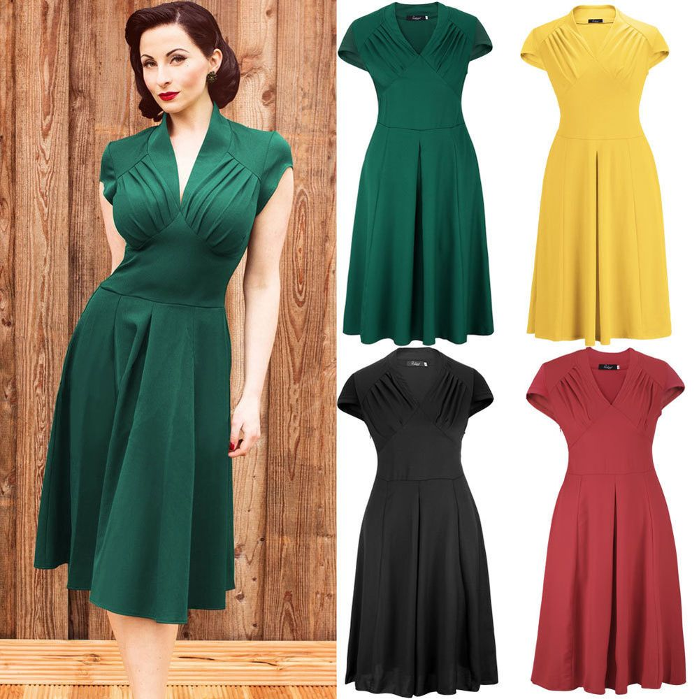 Sexy Womens Chiffon Short Sleeve 1940s 50s Retro Party Flared Swing ...
