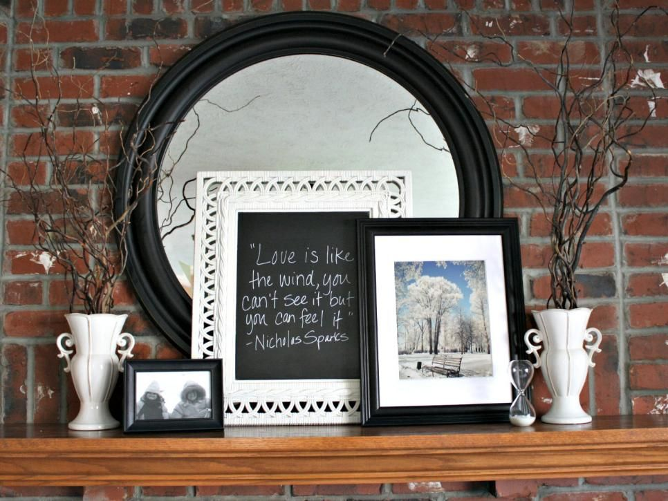 Winter Mantel Framed Photo Prints And White Vases Makes An Enchanting Snowy  Display. A Large