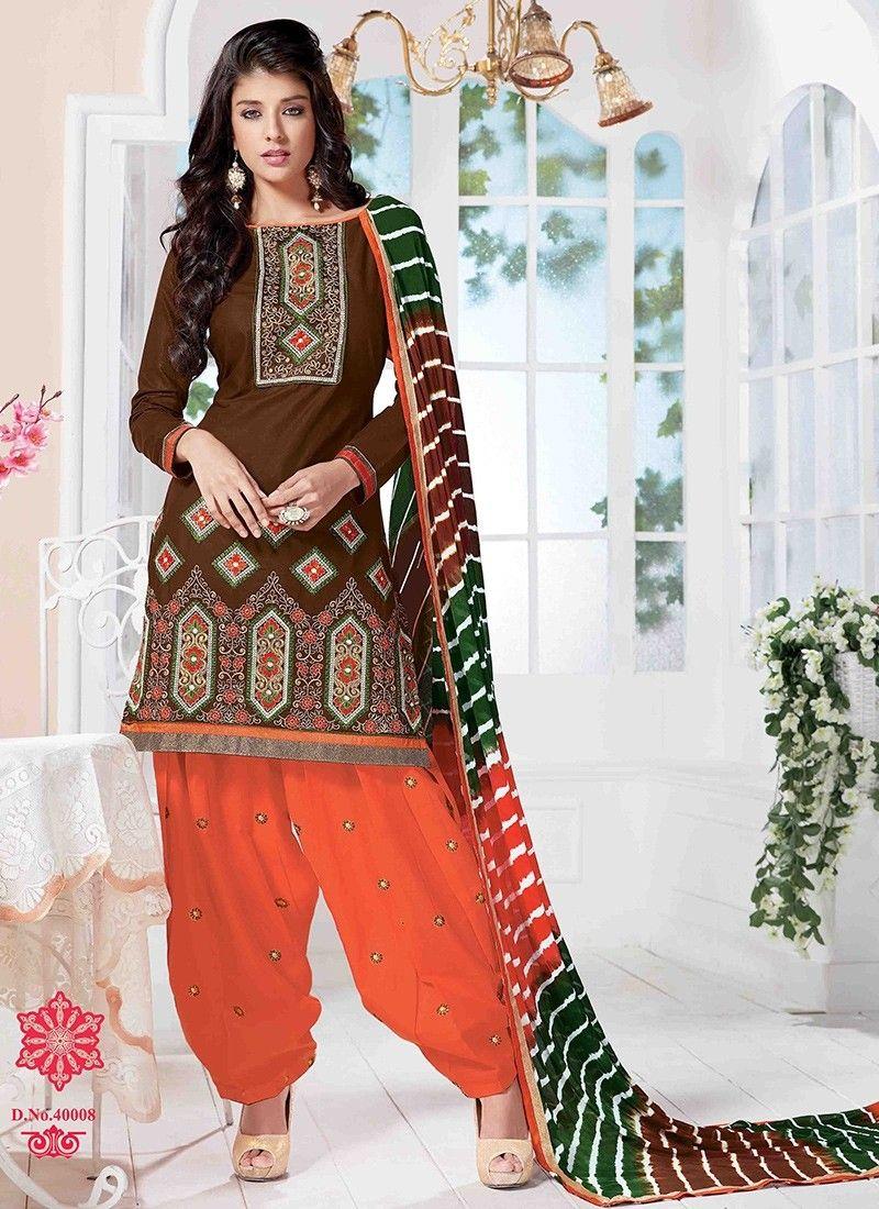Brown Semi Loan Patiala Suits #Salwar #PakistaniSalwarKameez ...