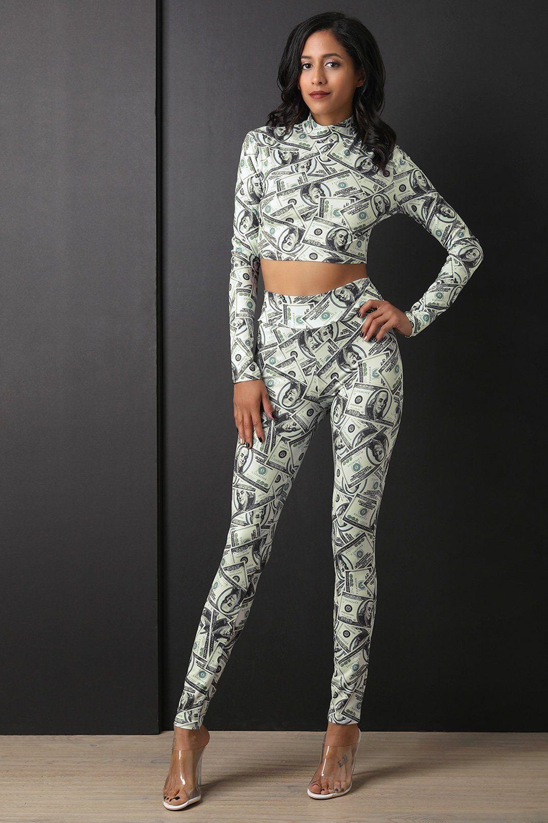 2f781f6839 Two Piece Money Crop Top with Leggings Set | Ladies | Crop tops ...
