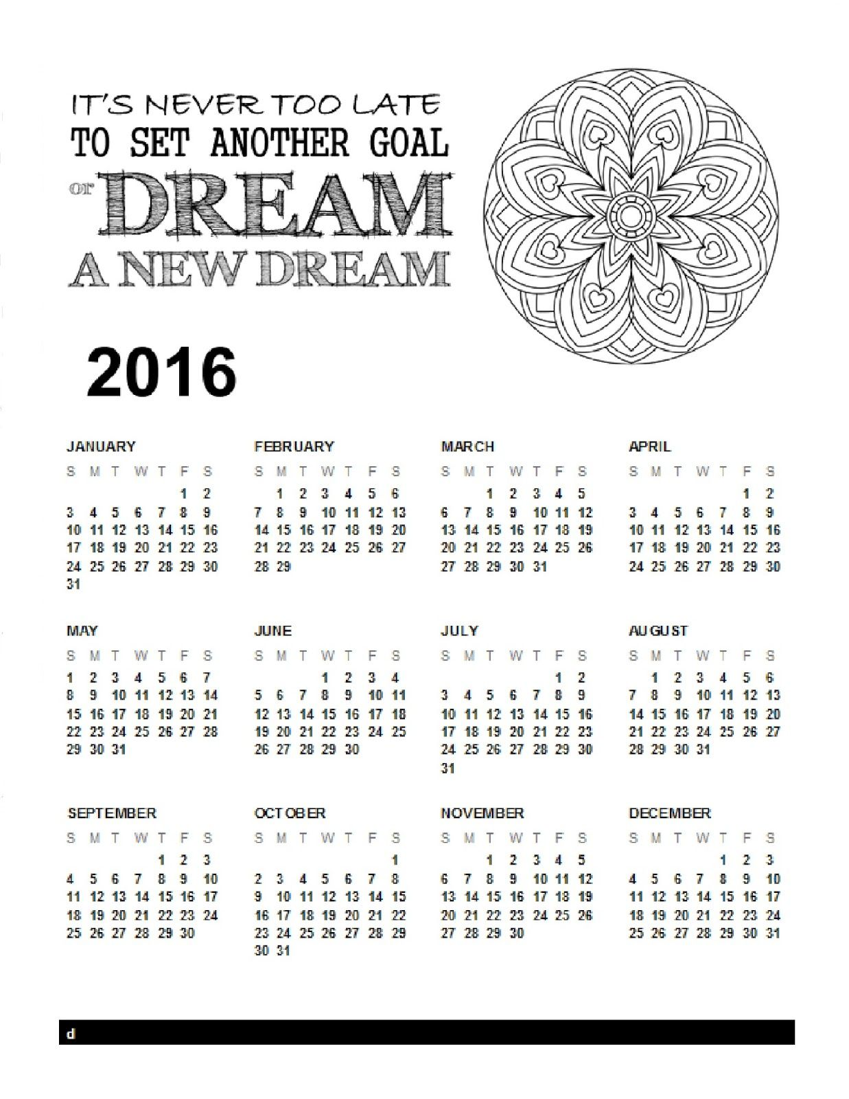 2016 year at a glance calendar printables pinterest free