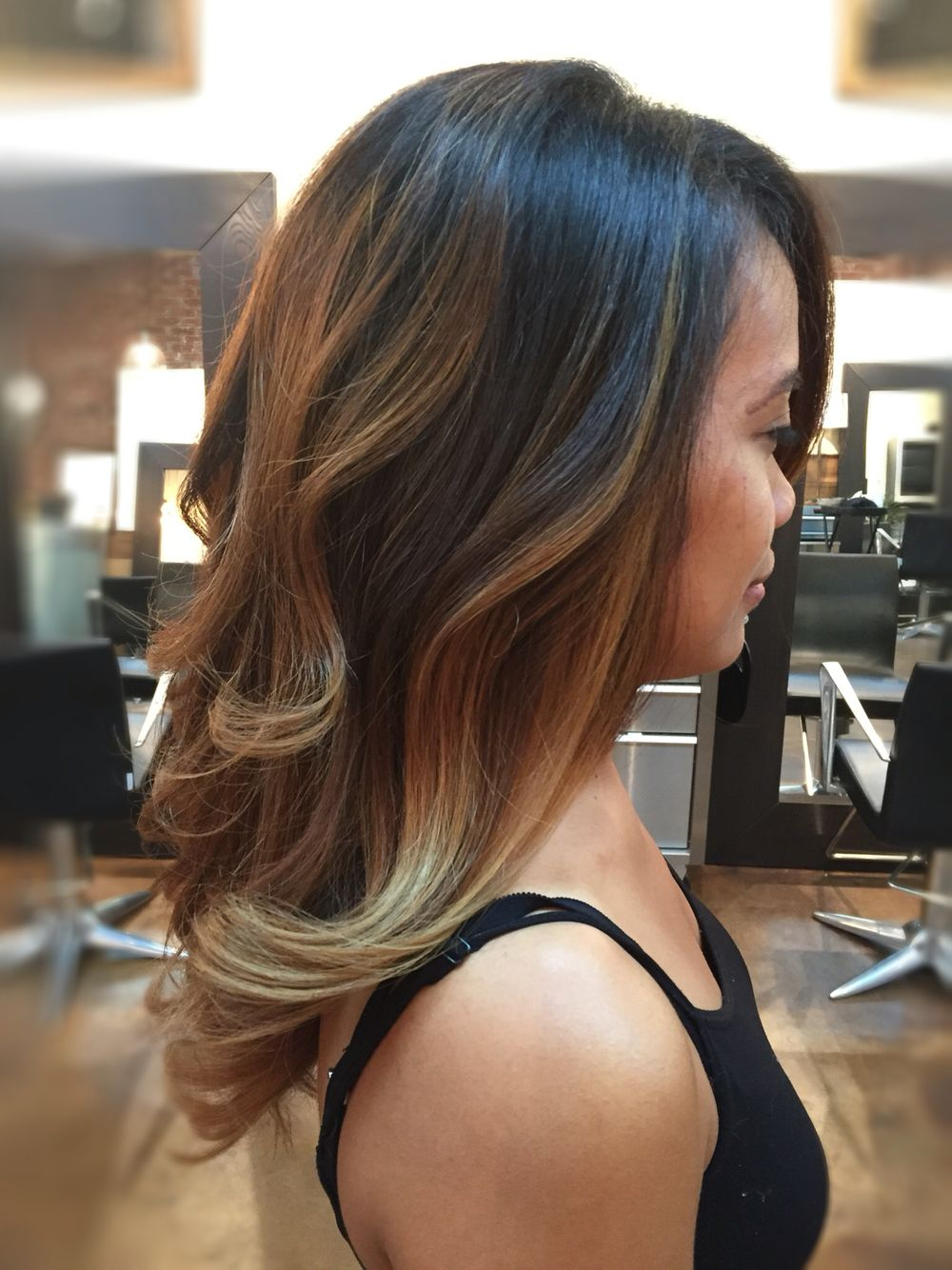 Black To Honey Blonde Balayage Highlights By Cici Andersen At