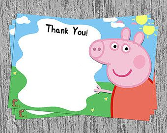 Free Peppa Pig Thank You Cards Peppa Pig Birthday Party Peppa Pig Birthday Peppa Pig Invitations
