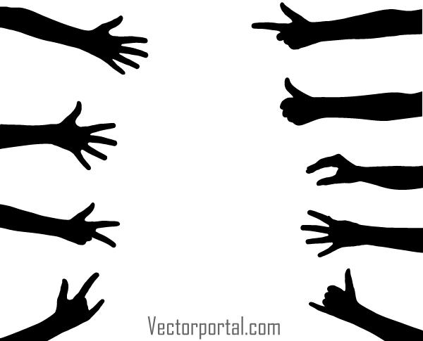 hand gesture vector silhouettes free vectors pinterest rh pinterest com free vector handstand free vector handstand