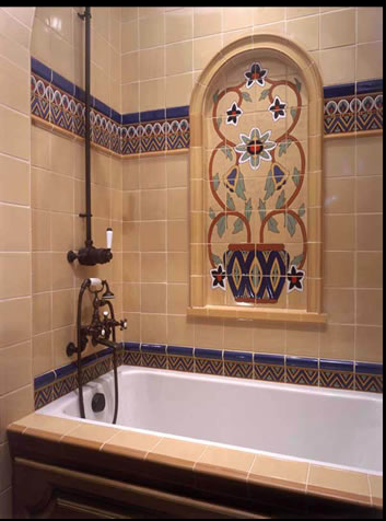 deco shower with malibu tile | vintage bathrooms