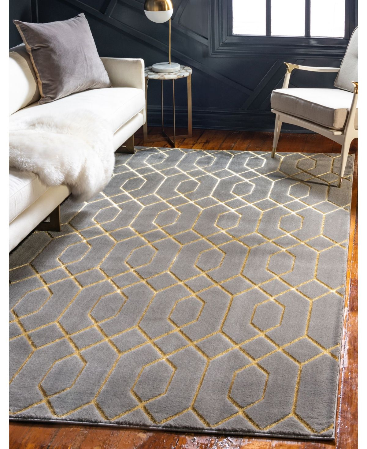 Marilyn Monroe Glam Mmg001 Gray Gold 5 X 8 Area Rug Reviews Furniture Macy S In 2020 Gold Living Room Grey And Gold Bedroom Glam Living Room