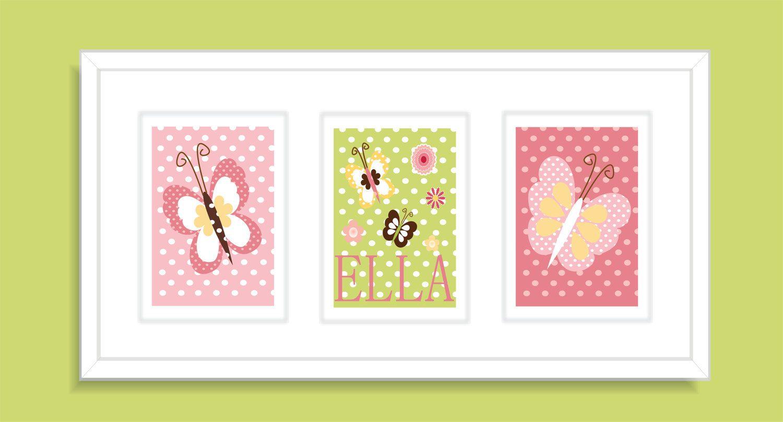 Butterfly Childrens Art Print, Nursery Wall Art, Girls Nursery Art ...