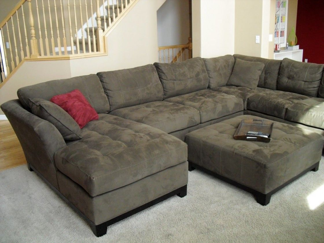 Simple Living Room Decorating Ideas With Cheap U Shaped Fabric Sectional  Sofas Having Black Hardwood Legs