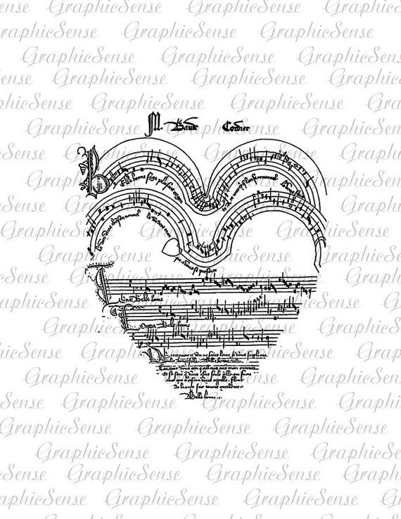 Music Notes Heart Love Song Printable Graphics by