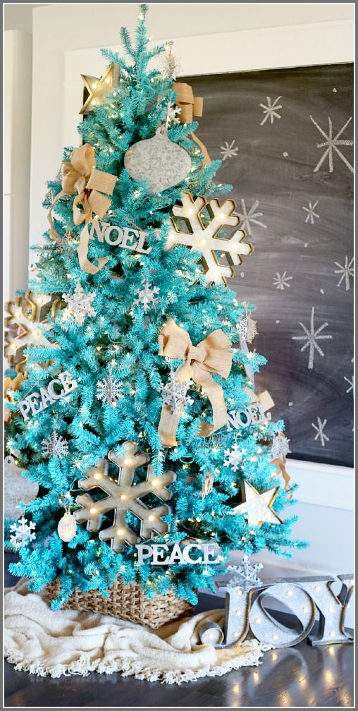 Rustic modern turquoise Christmas tree MichaelsMakers Sugarbee Crafts - Rustic Modern, Dream Tree Reveal Holiday Décor & DIY Pinterest