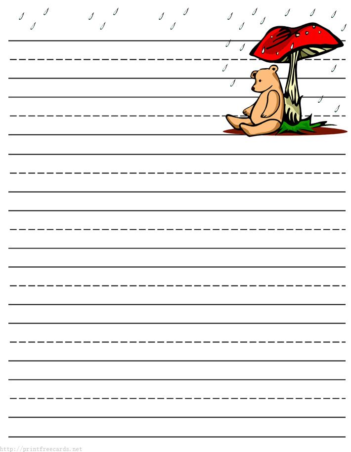 teddy bear free printable stationery for kids, primary lined teddy - free lined handwriting paper