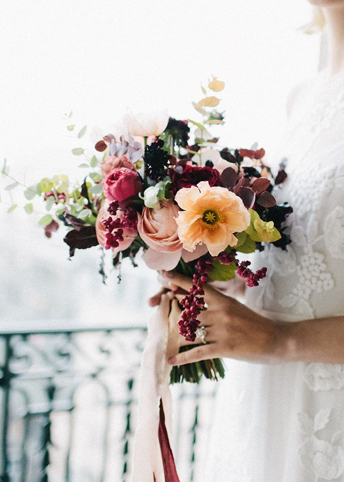 Deep and colorful flowers for the bridal bouquet.