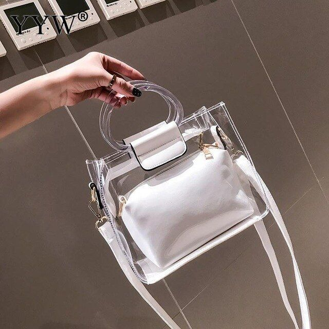 Women Jelly Shoulder Hand Bag Pink Clear Purse Tote Bag White Plastic Clear Handbag Pu Leather Bolso Transparente Mujer Color Black