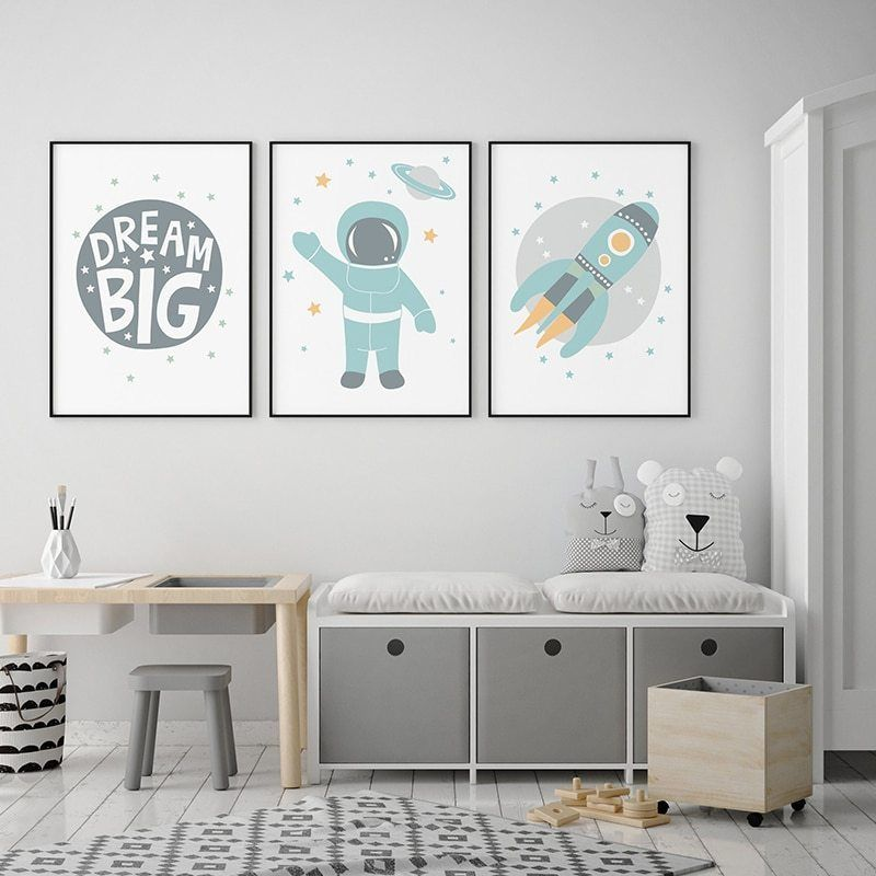Baby Nursery Wall Art Canvas Painting Astronaut Space Rocket Print Dream Big Scandinavian Poster Nordic Boys Bedroom Decoration