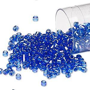 Seed bead, Delica®, glass, transparent rainbow dark cobalt blue, (DB178),