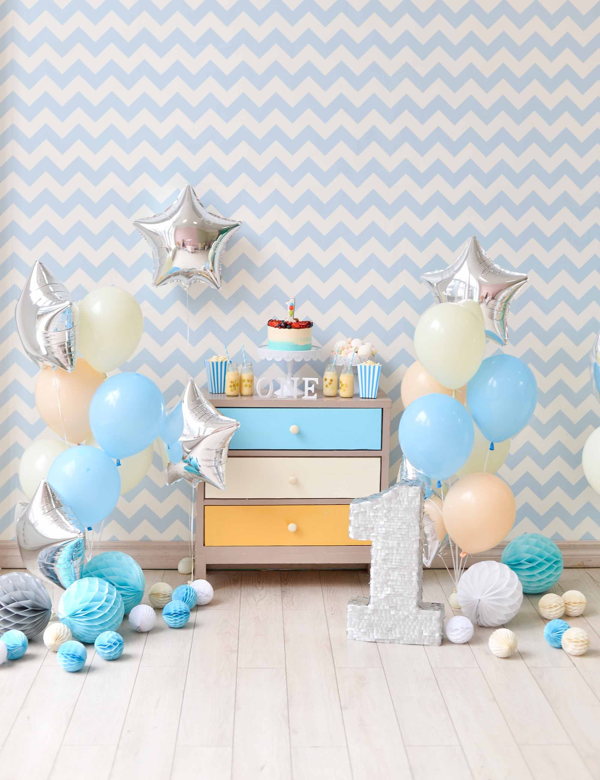 Beige And Blue Chevron banner Party Decoration Backdrop