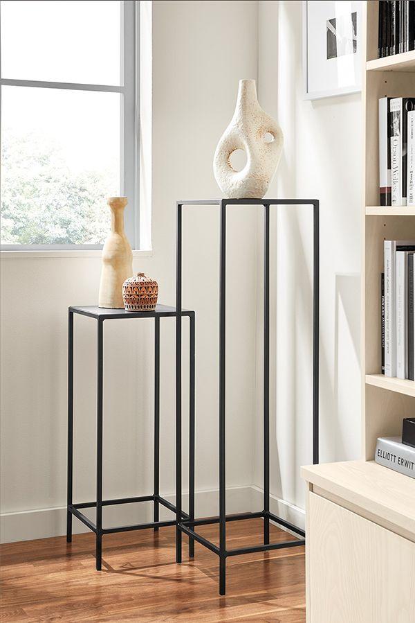 Slim Pedestal Tables in Natural Steel | Entryway Ideas ...