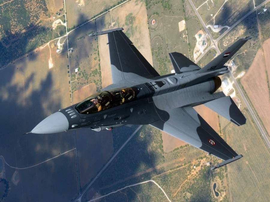 Iraqi Air Force Lockheed Martin F-16D Fighting Falcon undergoing test flight, before delivery.
