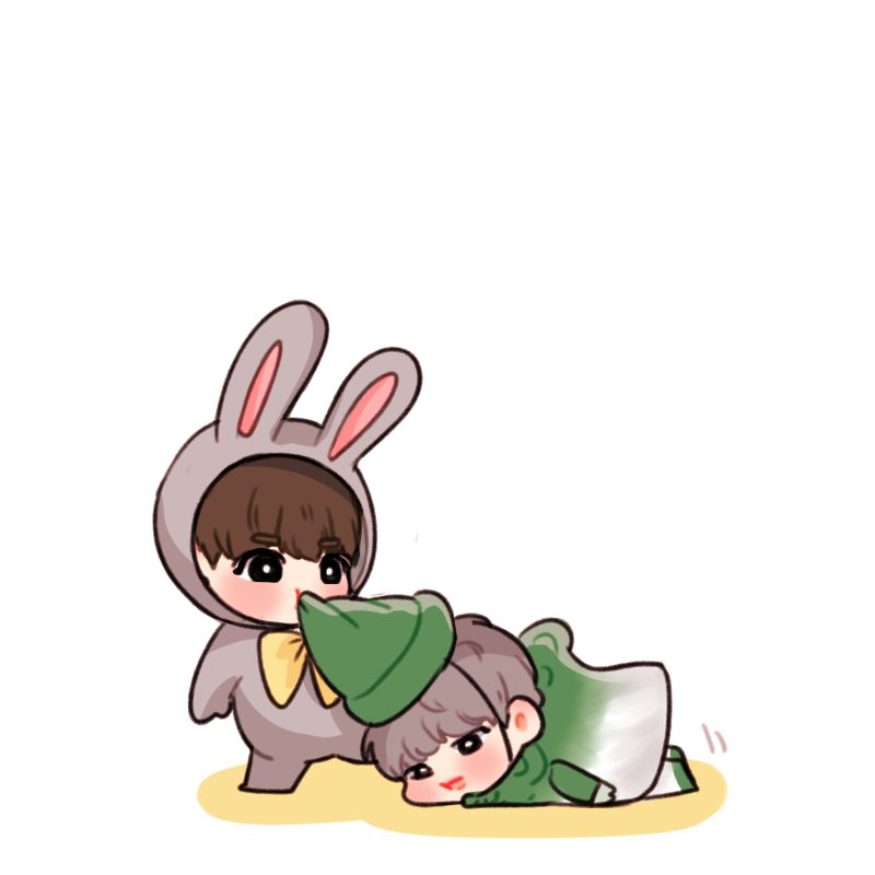 Because Jimin in that costume was too cute and chibi costume Jimin is just AAAHHH and Jungkook dressed as a bunny just proves he knows exactly what his fans want XD <--- Ohmy God I just realized that KookieBunny is eating JiminSprout!!!