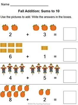 Fall Themed Addition  Subtraction Worksheets SumsNumbers To