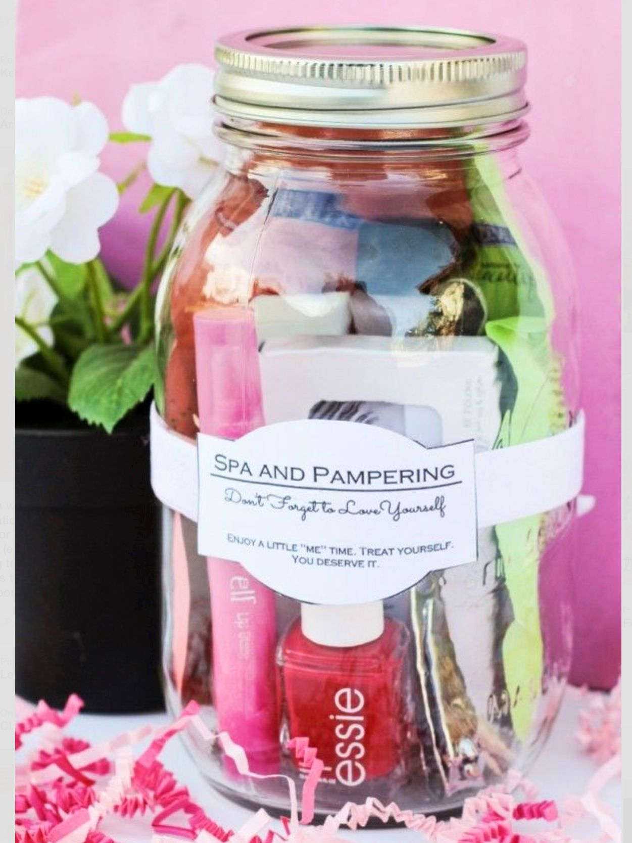 This is a really cute idea need to think about what to use it for do it yourself gift basket ideas for all occassions pampering spa in a mason jar gift idea and free printable gift jar label tags via classy clutter solutioingenieria Images