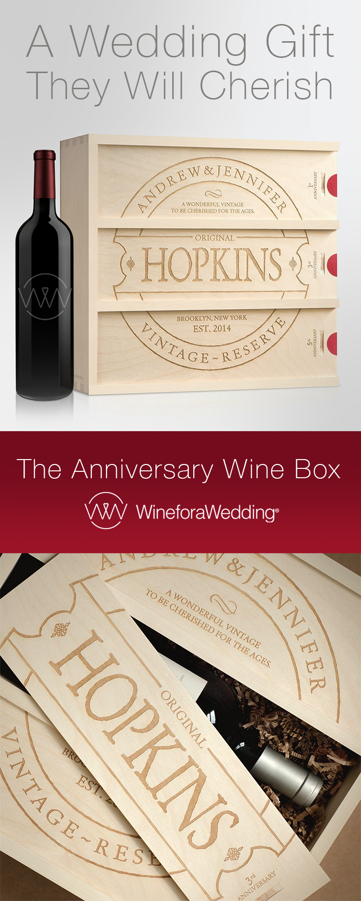 A Personalized Wine Box Wedding Gift That S Will Enjoy On Future Anniversaries
