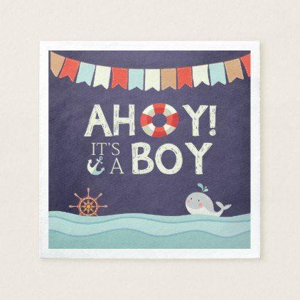 Ahoy its a boy shower napkins ocean nautical blue boy gifts ahoy its a boy shower napkins ocean nautical blue boy gifts gift ideas diy unique negle Images