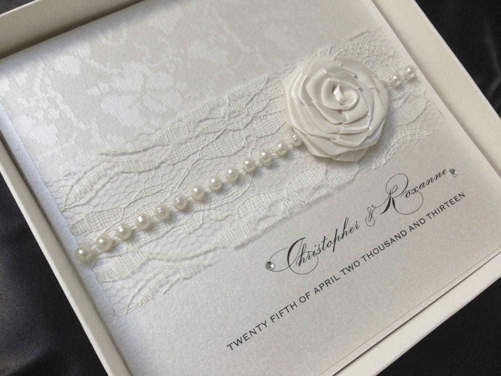 Luxury Handmade Wedding Invitation Personalised Sample Pearl