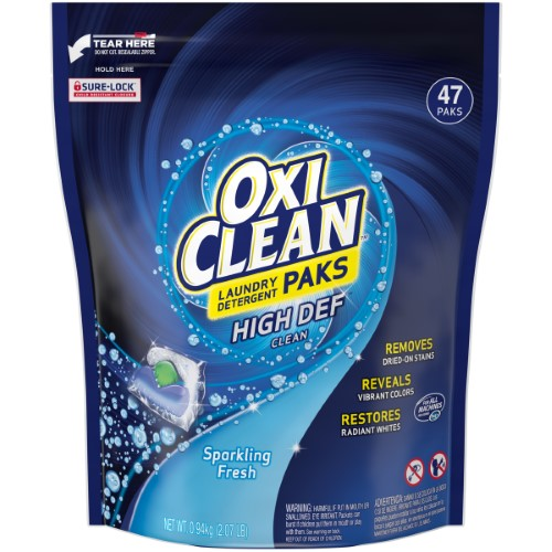 Oxiclean High Def Clean Sparkling Fresh Laundry Detergent Paks 47