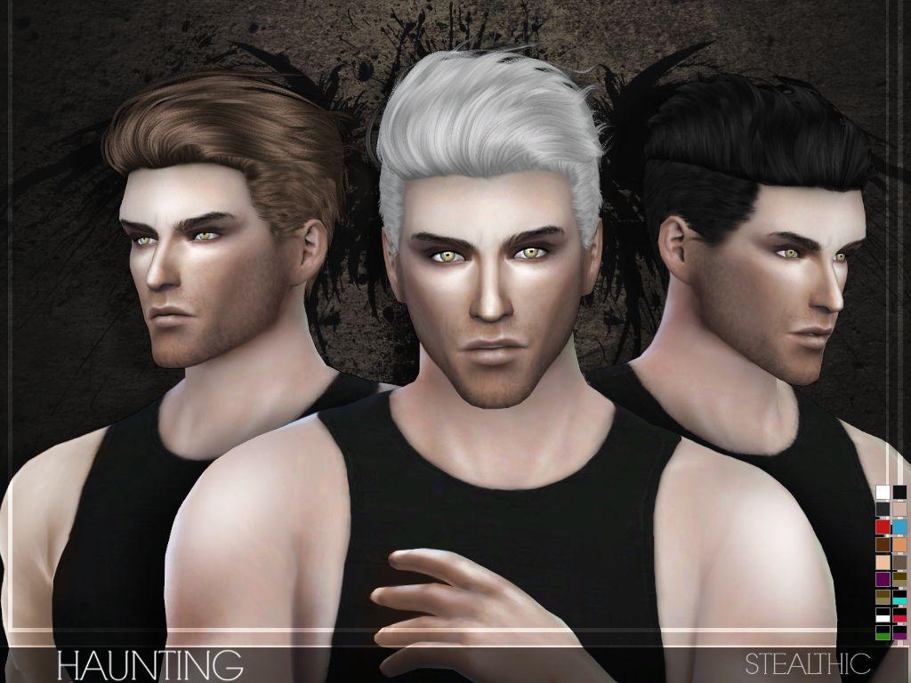 Stealthic haunting hairstyle sims 4 hair male sims hair