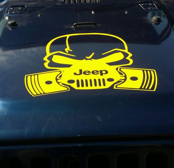 Jeep Hood Vinyl Decal Large Sticker Weather Resistant Outdoor - Custom vinyl decals for car hoodsfull color graphic vinyl sticker decal skull ghost fit car hood