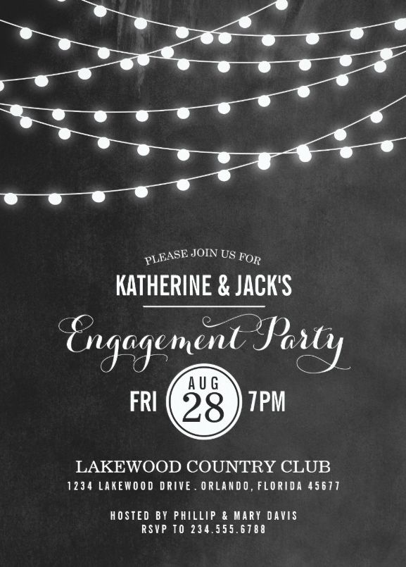 Summer String Lights Engagement Party Invitation Customized – Engagement Party Invitation Template