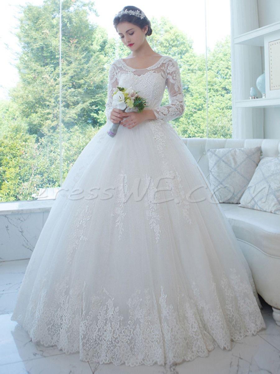 $220.89 Dresswe.com SUPPLIES Stunning Scoop Neck Long Sleeves ...